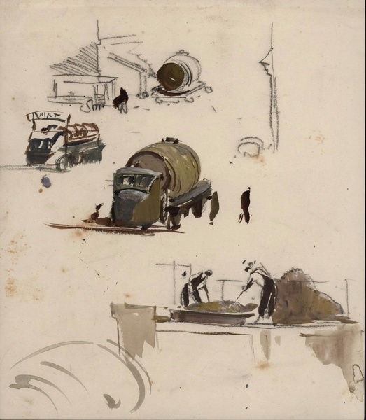 Artist Charles Cundall: Brewery sketch Watneys, circa1953