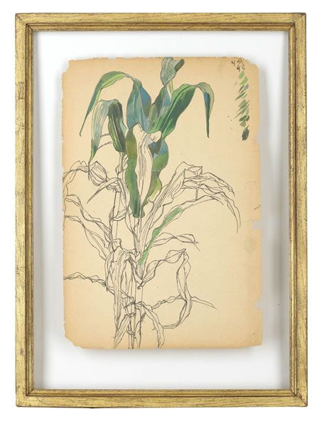 Artist Charles Mahoney: Tulip leaves, (recto); apples branch and bamboo (verso) late 1940s