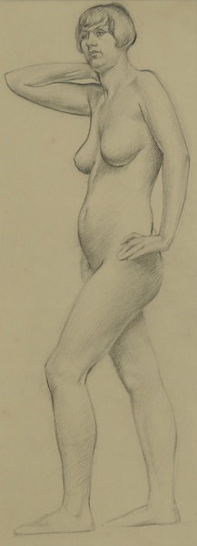 Artist John Luke: Standing Nude with Right Arm Raised