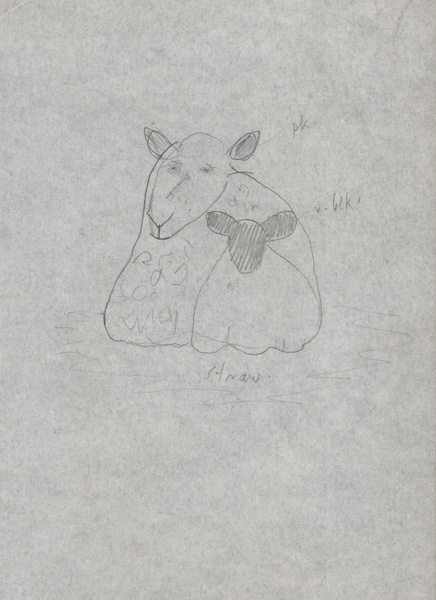 Artist Kenneth Rowntree: Sheep with lamb