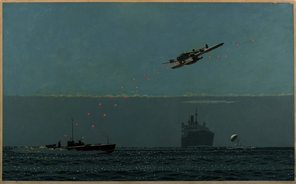 Artist Charles Pears: The Mosquite and the Eagle: A Nazi seaplane drops a mine in the Fairway, circa 1941