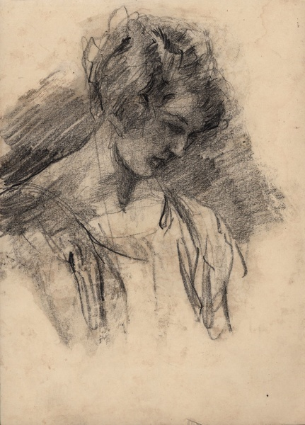 Artist Albert de Belleroche: Profile study, head and shoulders, of a young woman looking down