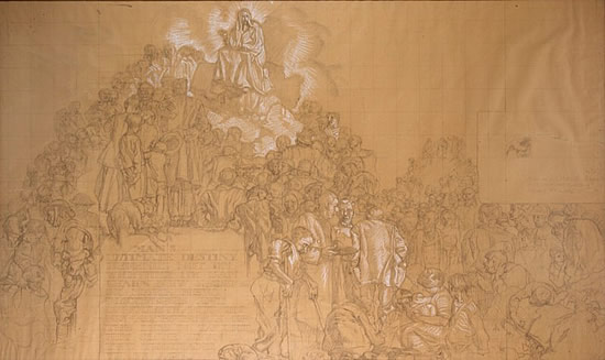 Artist Frank Brangwyn: Study for Man's Ultimate Destiny, c. 193