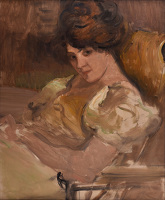 Artist Albert de Belleroche: Portrait of a lady reclining, circa 1905