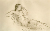 Reclining nude in thought, 1984