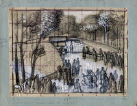 Artist Alan Sorrell: Study for A Burial Ceremony at Tinkinswood, Glamorgan, circa 1939