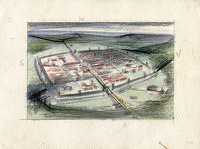 Artist Alan Sorrell: Study for a reconstruction of a Roman fort