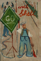 Artist Evelyn Dunbar: Go Shell, proposed design for Shell petrol. c.1937 [HMO 751]