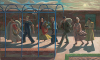 Artist Evelyn Dunbar: Seven Days, inscribed on stretcher 'Design for mural'