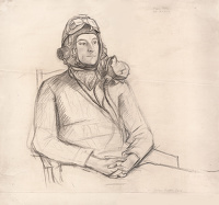 Artist Evelyn Dunbar: Portrait of Flying Officer Roger Folley, RAFVR [HMO 280]