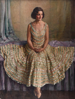 Artist Phyllis Dodd: Olga in her flounced dress, 1930