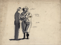 Artist Evelyn Dunbar: Studies for Putting on Anti-gas Protective Clothing, 1940, study c.
