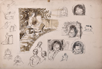 Artist Evelyn Dunbar: Preliminary sketches for the 'supporters' at either end of the Hilly Fields mural frieze at Brockley School