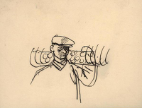 Artist Evelyn Dunbar: Sketch of man carrying a hay-tedder