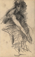 Study of a woman seated leaning forward