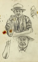 Artist Alan Sorrell: Studies of Mr Turner, for the mural at Turners Hardware shop in Hadleigh High Street, circa 1956