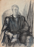 Artist Alan Sorrell: Self Portrait in Graduation Gown