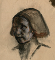 Artist Alan Sorrell: Portrait of Evelyn Gibbs, circa 1929
