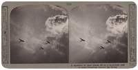 Artist Anonymous: Stereoscopic print: A squadron of giant planes...