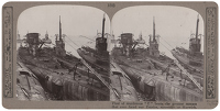 Artist Anonymous: Stereoscopic print: Fleet of murderous U boats,…