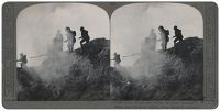 Artist Anonymous: Stereoscopic print: Under cover of gas and smoke we break through to the Serre and Thiepval (photo from captured prisoner).