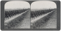 Artist Anonymous: Stereoscopic print: North Staffords on the march in France.
