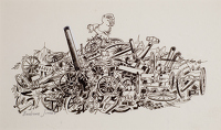 Artist Barbara Jones: A Pile of captured German guns, aeroplanes and other detritus of war , circa 1972