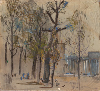 Artist Charles Cundall: Study of Apsley gate from Hyde Park