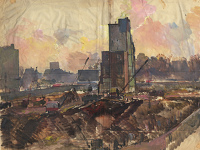 Artist Charles Cundall: Study for 'Excavation in Park Lane'', early 1960s