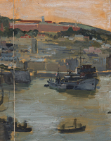 Artist Charles Cundall: Royal naval vessels in harbour