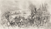 Artist Charles Cundall: Crowd watching a regatta