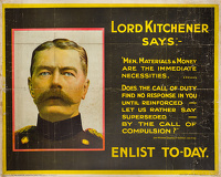 Artist English School: Lord Kitchener Says... Enlist Today, 1915