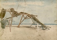 Artist English School: Shelter with discarded munitions cases, Sinai Desert, 1916-17