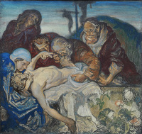 Artist Frank Brangwyn: The 14th Station: Jesus is Laid in the Tomb