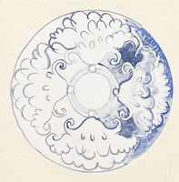 Artist Frank Brangwyn: Design for a blue and white plate with profile view top right, late 1930s