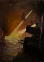 Artist Harold M. Brett: A Destroyer on a night time naval encounter, circa 1915