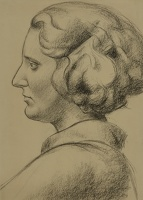 Artist John Luke: Woman's Head in Profile