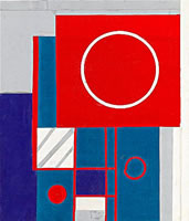 Artist Kathleen Guthrie: Original design for white red and blue circles in square, collage, circa 1940