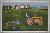 Artist Kenneth Rowntree: Tractor in Landscape, 1945