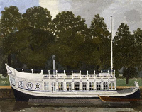 Artist Kenneth Rowntree: St John's College Barge on the Isis at Oxford, c. 1955