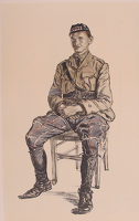 Artist Muirhead Bone: A Highland Officer - Lieutenant D.H. Georgeson, Seaforth Highlanders, Intelligence Officer 44th Brigade Headquarters