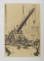 Artist Muirhead Bone: Mounting a Great Gun, Coventry, February 1917.