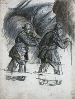 Artist Muirhead Bone: Study for Winter Mine-Laying off Iceland, c.1942, cat 7