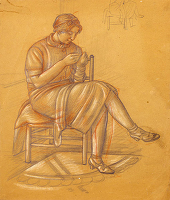 Artist Stanley Lewis: Study for Hyde Park, The Artists Mother seated, sewing