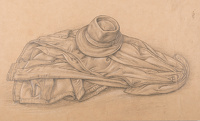 Artist Stanley Lewis: Study for Hyde Park, circa 1931, the artists coat and hat