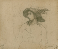 Artist William Lee Hankey: Study for a portrait of a seated woman with hat, 1930