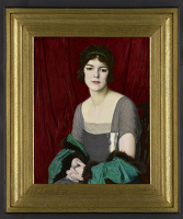 Artist William Strang: The Green Cloak, Portrait of the actress Miss Barbara Horder, 1918