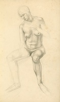 Artist Winifred Knights: Life drawing, nude three-quarter view, circa 1920