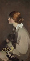 Artist Norah Neilson Gray: Young Woman with Cat