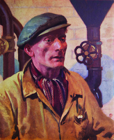 Artist Miles Fletcher de Montmorency: James Cunningham was a varnish maker in the paints division at Slough, Berkshire, Portrait for the ICI advertising campaign